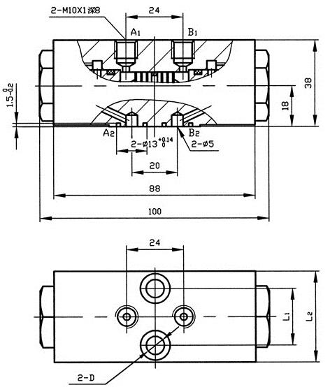 ys6-03型双向液压锁尺寸图图片